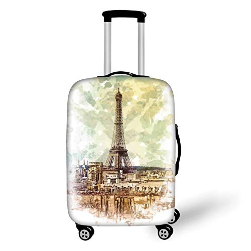 Travel Luggage Cover Suitcase Protector,Eiffel Tower Decor,Pastel Watercolor Style Print Vintage Eiffel Tower Skyline Parisian Theme Artprint,Brown Beige,for Travel M