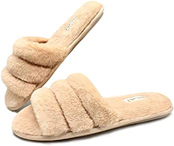 Oncai Women Fluffy-House-Slippers