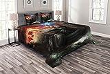 ABAKUHAUS Drachen Tagesdecke Set, Wikinger-Boot Stürmische See, Set mit Kissenbezügen Moderne Designs, für Doppelbetten 220 x 220 cm, Mehrfarbig