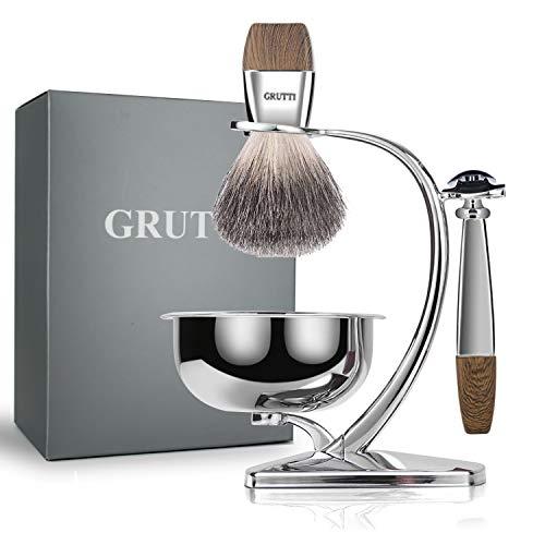 Ensemble de rasage GRUTTI, rasoir de luxe chromé et support de brosse avec bol de savon et brosse de rasage pour cheveux de blaireau et lame double tranchant compatible avec rasoir de sûreté