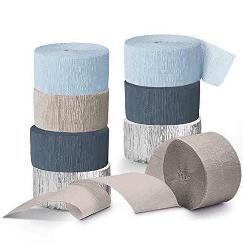 NICROLANDEE Hochzeitsdekorationen - 8 Rollen Dusty Blue Crepe Paper Streamers Quasten Streamer Papier für romantische Hochzeit, Brautdusche, Babyparty, Geburtstagsfeier, besondere Anlässe