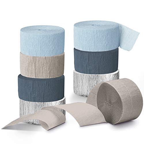 NICROLANDEE Wedding Decorations - 8 Rolls Dusty Blue Crepe Paper Streamers Tassels Streamer Paper for Romantic Wedding, Bridal Shower, Baby Shower, Birthday Party, Special Events