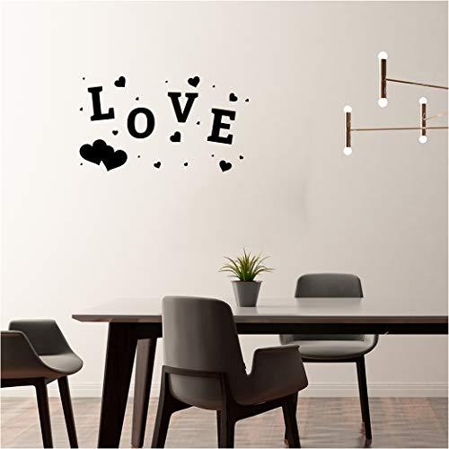 MIGNATIS Adhesivo de pared grande y pequeño corazón y letras de amor,...