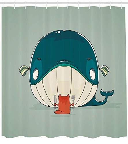 ABAKUHAUS Wal Duschvorhang, Kätzchen Essen Große Fische, Digital auf Stoff Bedruckt inkl.12 Haken Farbfest Wasser Bakterie Resistent, 175 x 200 cm, Mandelgrün Blaugrün
