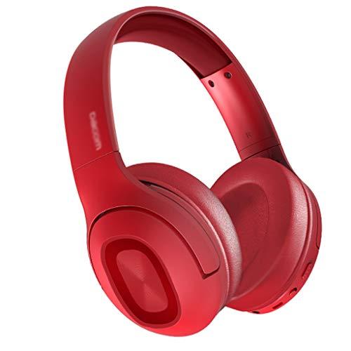 WYH Música Auriculares Bluetooth inalámbricos sobre Auriculares para la Oreja V5.0 con micrófono Plegable y liviano para celulares portátil (Rojo/Negro) Resistente al Sudor (Color : Red)