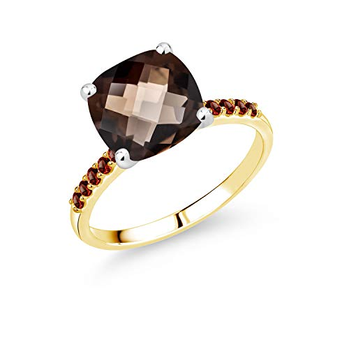 Gem Stone King 4.09 Ct Cushion Checkerboard Brown Smoky Quartz Red Garnet 10K 2-Tone Gold Ring (Size 8)
