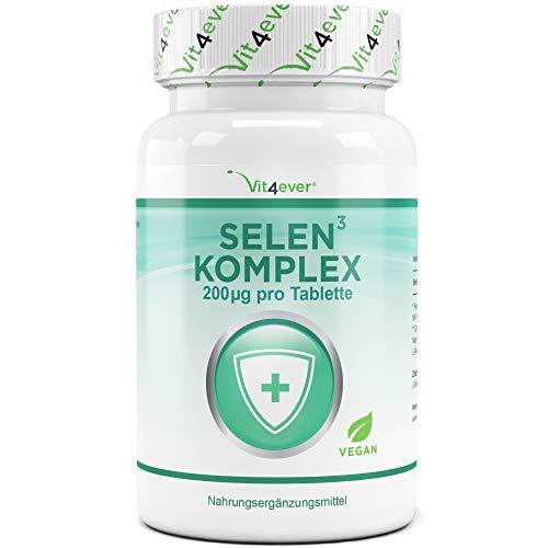 Selen 3-fach Komplex - 365 Tabletten mit je 200 µg - Premium: Natriumselenit, L-Selenmethionin, Selenhefe - Vegan - Hochdosiert - Laborgeprüft