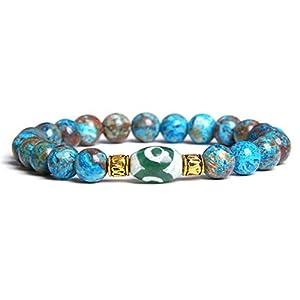 MU-PPX Armband Paare Poliert Blaue Steinperlen Armreifen Männer Dzi Legierung Armband Geschenk, Blau, 19Cm