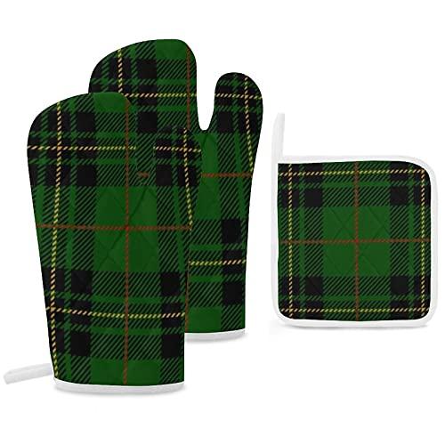 Lot de 3 maniques de four et maniques - Noir abstrait Clan Forbes - Tartan écossais vert à carreaux écossais - Gants de cuisine...