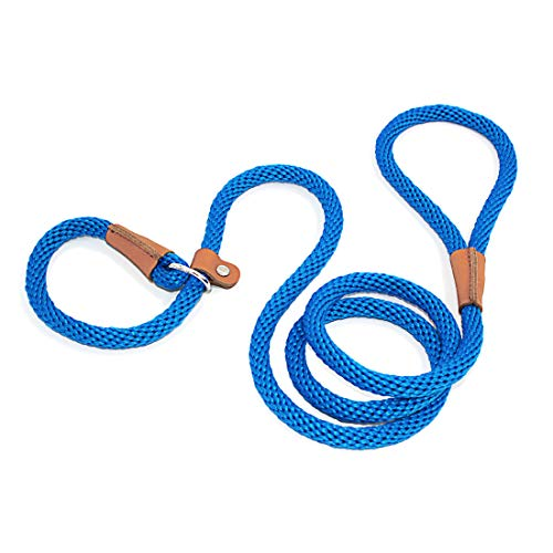 lynxking Dog Leash Slip Rope Lead Leash Strong Heavy Duty Braided Rope No Pull Training Lead Leashes for Medium Large Dogs (6', Blue)