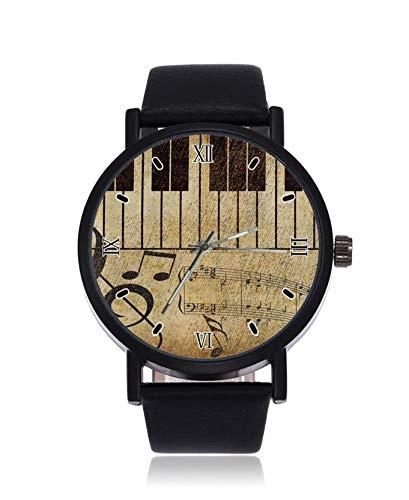 Vintage Piano Fashion Damen Armbanduhr Quarz Edelstahl Lederband Casual Uhr