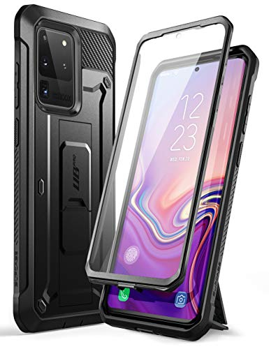 SupCase UB Pro Series Designed for Samsung Galaxy S20 Ultra 5G Case, Built-in Screen Protector with Full-Body Rugged Holster & Kickstand for Galaxy S20 Ultra (2020 Release) (Black)