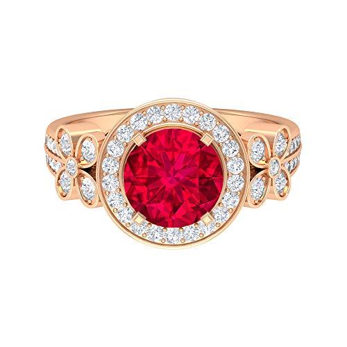Anillo de oro solitario, piedras preciosas de 2,88 quilates, diamante HI-SI 8 mm de rubí creado por laboratorio, anillo de halo con piedras laterales, colección floral, 14K Oro rosa, Size:EU 50
