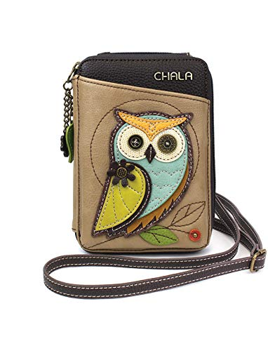 Chala Wallet Crossbody Cell Phone Purse-Women Faux Leather Multicolor Handbag with Adjustable Strap - Owl-A Taupe