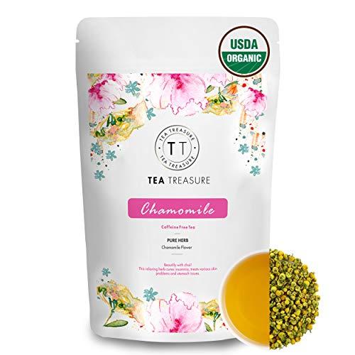 TeaTreasure Organic Pure Chamomile Tea - 50 Gm - Calming & Soothing Sleep Tea for Stress and Anxiety