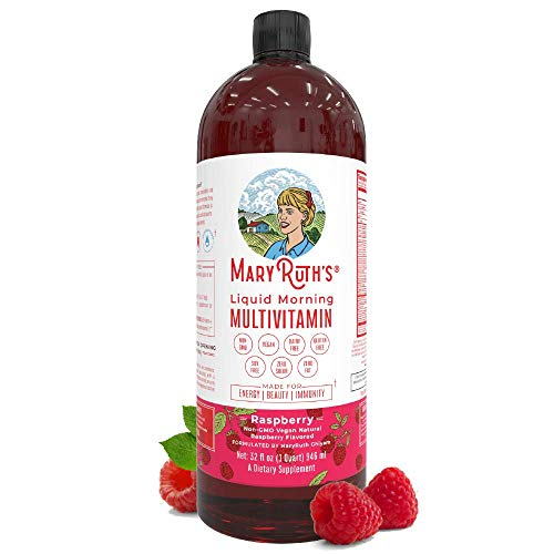 Liquid Multivitamin for Men & Women by MaryRuth's, Vegan Vitamin A, B, C, D3, E & Amino Acids, Sugar Free, 1 Month Supply, Raspberry, 32 Fl Oz