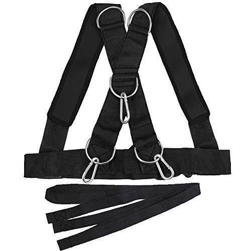 Whiie891203 Fitness, Schlitten Schulter-Trainingsgurt Stärke Widerstand Gürtel Trainer – Schwarz, Schwarz