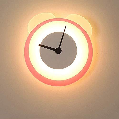 Luz de reloj Luces de pared LED para interiores Luz de noche de dibujos animados creativos Luces de dormitorio para niños Lámpara de pared Lámpara de pared para habitación de niños Luz decorativa en