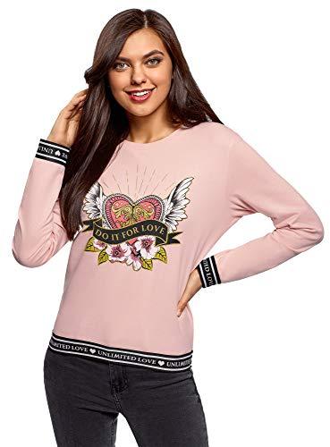 oodji Ultra Mujer Suéter de Algodón con Estampado, Rosa, ES 38 / S