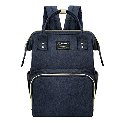 Zooawa Baby Diaper Bag Backpack, Large Capacity Waterproof Multifunctional Mommy Nappy Tote Bag Multi Pockets Travel Organizer for Baby Care, Blue
