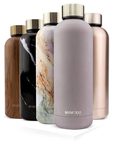 MAMEIDO Trinkflasche Edelstahl - Taupe Grau Gold - 750ml, 0,75l Thermosflasche - auslaufsicher, BPA frei - schlanke isolierte Wasserflasche, leichte doppelwandige Isolierflasche