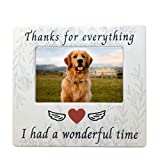 BANBERRY DESIGNS Pet Memorial Picture Frame - Thanks for Everything I had a Wonderful Time Ceramic Photo Plaque - 4 X 6 Standard Photograph - Dog Cat Loss Sympathy Gifts - Loss of Pet Gifts