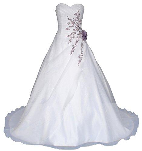 Romantic-Fashion Brautkleid Hochzeitskleid Weiß Modell W020 A-Linie Lang Satin Perlen Pailletten lila Stickerei DE Größe 54
