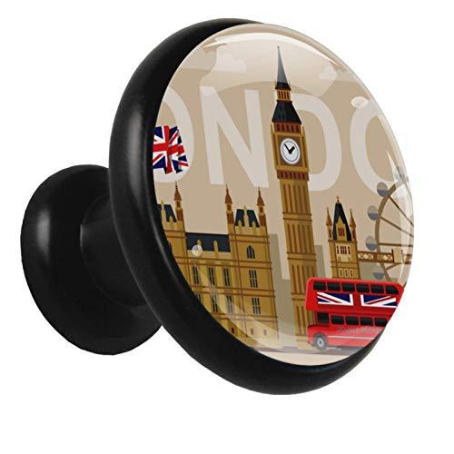 Paquete de 4 pomos de cajón para niños hechos a mano Símbolos de banderas de Londres retro El gabinete de la manija del tocador lindo tira las perillas con diseño 3.2x3x1.7cm