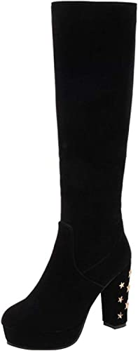 ZHRUI botas Decorativas de Invierno con plataforma de tacón Alto para mujer (Color   negro, tamaño   41EU)