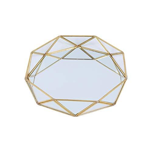 Bandeja decorativa de cristal con espejo para baño, organizador de maquillaje, joyería, perfume, diseño único (color: dorado, tamaño: 24,5 x 4,4 cm)
