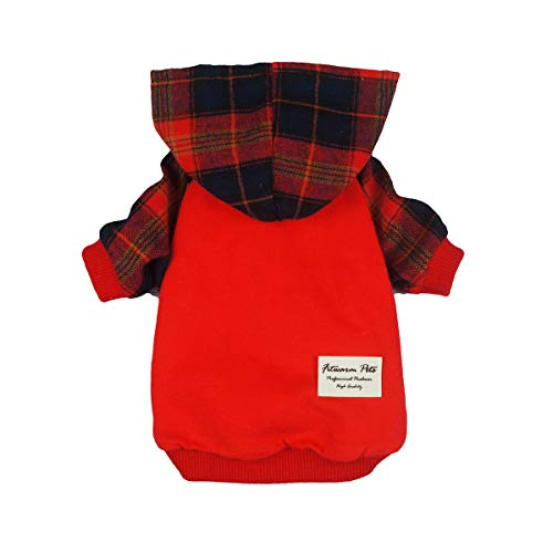 Fitwarm Plaid Pet Clothes for Dog Sweatshirts Cat Pullover Hooded Shirts Red XL