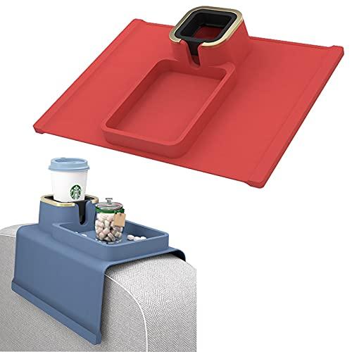 Bandeja de silicona con marco de metal, para sofá, bandeja antiderrames, brazo de bebida, apoyabrazos y organizador de teléfono móvil para silla y reclinable, color rojo