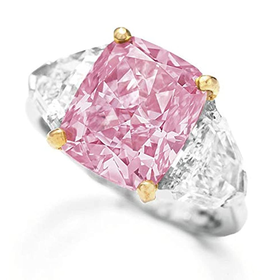 Cathy Clara Exquisite Pink Diamond Geometric Round Edge Square Ring Ladies Jewelry Gift Silver Elegant Flower Engagement Ring with Clear Fine Jewelry Gift for Women Size 6-10