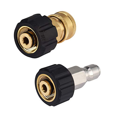 M MINGLE Pressure Washer Hose Adapter Set, M22 to 3/8 Quick Connect for Power Washer Hose, 5000 PSI