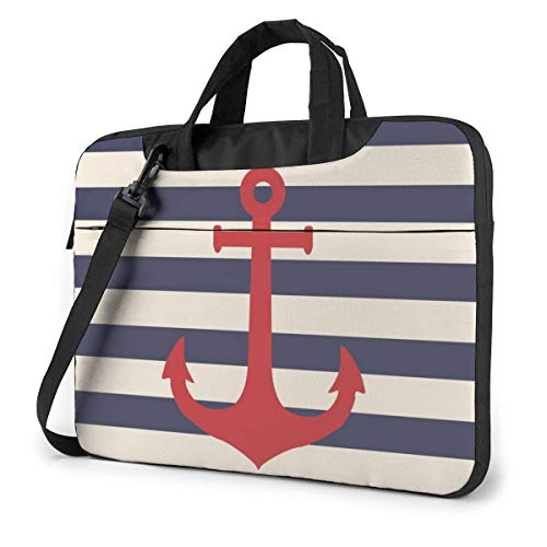 Striped Marine Anchor Laptop Case Laptop Shoulder Bag 15.6 Inch,Laptop Sleeve Carrying Case with Strap