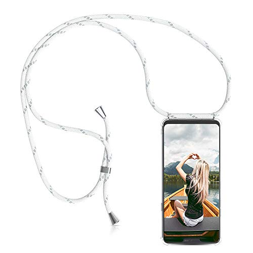 ZHXMALL Funda con Cuerda para Google Pixel 4A, Carcasa Colgante Ajustable Collar Correa de Cuello Cadena Cordón, Transparente Suave TPU Silicona Anti-Golpes Protectora Case - Gris Blanco
