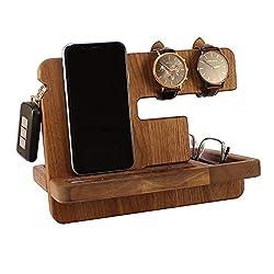 Wood Spot Tisch Organizer, Office, echtes Walnuss Holz, Hartholz Halterung für Handys, Docking Station mit Schlüsselhaken, Armbanduhr Hänger, Brillenhalter, Geldbörse Halter, Geschenk für Männer