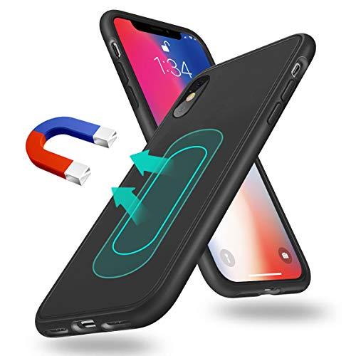 weiyun Magnetische Hülle Kompatibel mit iPhone XS Max, [Invisible Metall Plate] Support Magnetische Auto Mount, Dünn Silikon Weich Schockproof Anti-Kratz Schutz Hülle Kompatibel mit iPhone XS Max