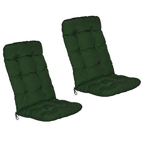 Beautissu Set de 2 Cojines para sillas de balcón Flair HL - Cojín para Asientos Exteriores con Respaldo Alto - 120x50x8 cm - Verde Oscuro