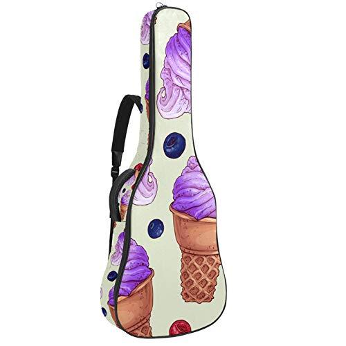 Bolsa para guitarra eléctrica con diseño gráfico de helado, tamaño completo, acolchada con asa acolchada y correa para el hombro