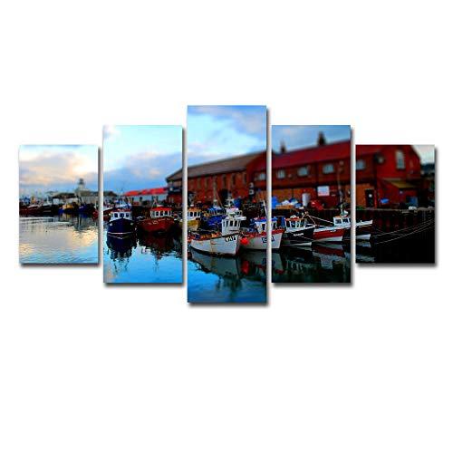 RTFGF leinwandbilder Wohnzimmer kunstdrucke auf Leinwand Bild 5-teilig Rote Kajütboot-Landschaft Für zu Hause Moderne Wohnzimmer Wohnung Druckdekor Mit Rahmen 150 * 80cm