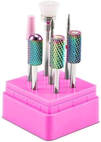 Nagelfräser Bits Set, DIOZO 7pcs Premium 3/32 Hartmetall Nagelfräser Aufsatz Bit Set für Gelnägel Acrylnägel Schleifkopf Nagelbohrer Werkzeuge für Maniküre Pediküre