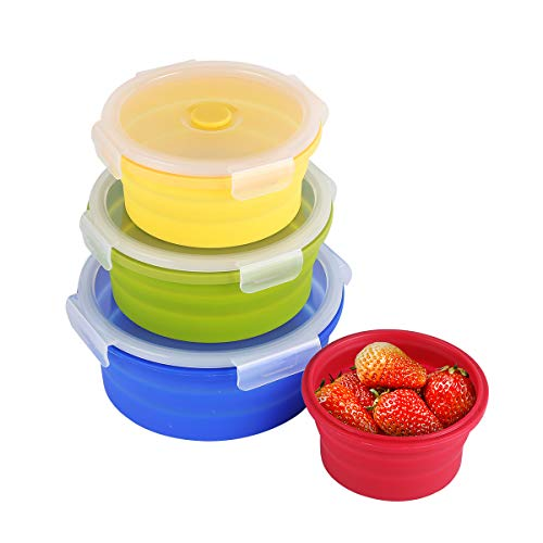 Collapsible Silicone Food Storage Containers with BPA Free Lid Meal Prep Containers Space Saver for Kitchen Bento Lunch Boxes Travel Picnic Leftover Microwave Refrigerator Set of 4