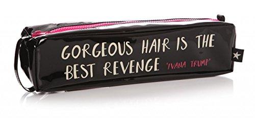 Schwarz glänzend Haar Zange Glätteisen Schutzhülle Tasche–Gorgeous Haar Ist The Best Revenge