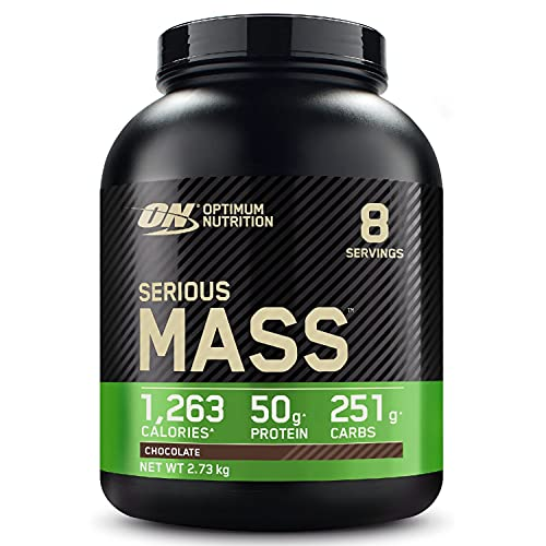 Optimum Nutrition Serious Mass Gainer, Proteine Whey in Polvere per Aumentare la Massa Muscolare con Creatina, Glutammina e Vitamine, Cioccolato, 8 Porzioni, 2.73 kg, il Packaging Potrebbe Variare