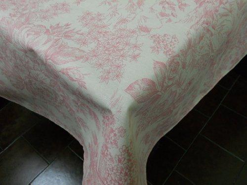 Confección Saymi Mantel Antimanchas Ref. Toile de Jouy, Romántica Rosa Tejido Acabado en Teflon®, Medida 138x200