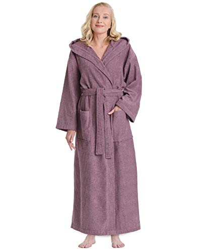 Arus Women's Hooded Classic Bathrobe Turkish Cotton Robe with Full Length Options (L/XL,Plum)