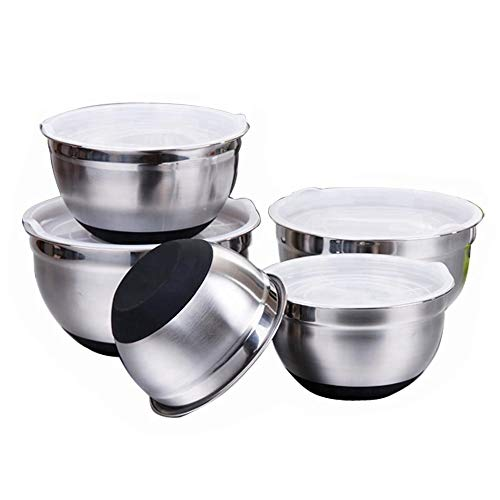 RNDOMIQ Non-Slip Bottom&PlasticLids Stainless Steel Salad Bowls with Lid Thick Silicone Mixing Bowls Set Kitchen Baking Tools Professional Baking Kitchenware