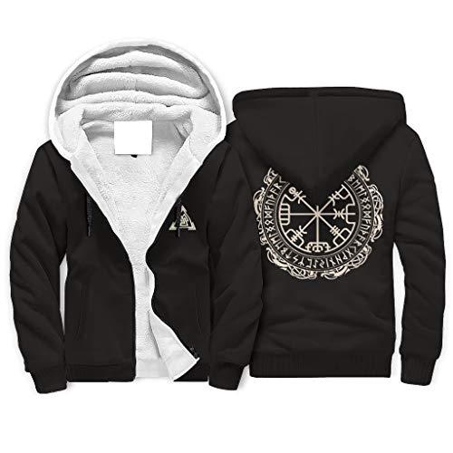 FFanClassic Sudadera con capucha de forro polar Viking para hombre de estilo suave con bolsillos apretados con capucha blanco xl
