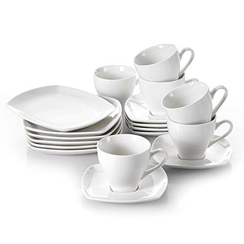 V VANCASSO VC-CANDELA-18 Ivory Porcelain Snack Cup 18-Piece Teacup and Saucer Set with Dessert Plates, Service for 6